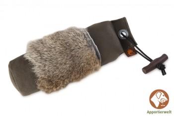 Firedog Standard Dummy 500 g khaki mit Kaninchenfellring