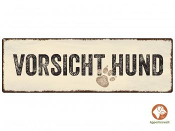 Design- Metallschild VORSICHT HUND - wetterfest