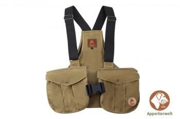 Firedog Dummyweste Trainer waxed cotton khaki hell mit Plastik-Klickverschluss