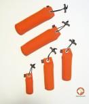 Dummy-Starter Set - 5 orangefarbene Dummies in drei Größen + 1 ACME-Pfeife Schwarz